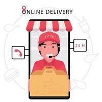 Servicio de entrega de alimentos con agente de servicio al cliente entregando bolsa. vector