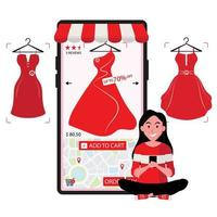 Lady Orders Red Dress On Sale Online by Mobile Phone