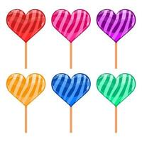 Heart shaped lollipops isolated  vector