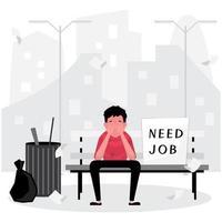 Triste hombre desempleado sentado en un banco, sin hogar vector