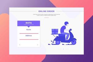 Online Delivery Order Landing Page vector