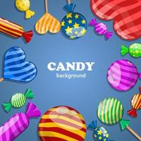 Candy illustration on blue vector