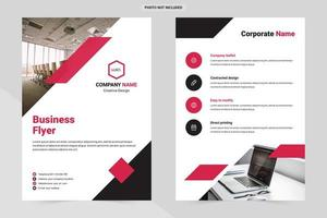 White business flyer template with red and black details