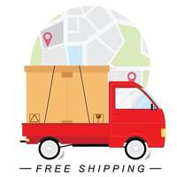 Free shipping concept with truck and map