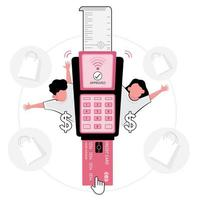 Checkout picture featuring pink credit card machine vector