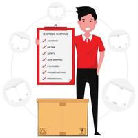 Man with package holding shipping policy clipboard vector