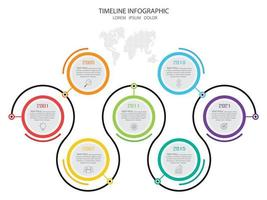 Colorful circle timeline infographic