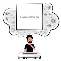 Man at desk thinking outside the box vector