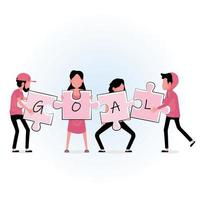 Business people holding jigsaw pieces with GOAL text vector