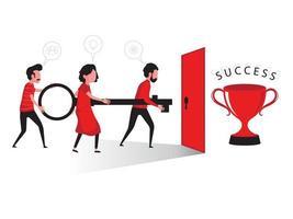 Business people holding key to trophy behind door