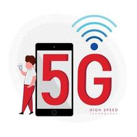 5G signal technology with man leaning on phone