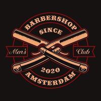Crossed straight razors vintage badge for t-shirt