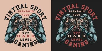 Set of vintage robot hands with video game controllers vector