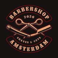 Straight razor and scissors vintage badge for t-shirt