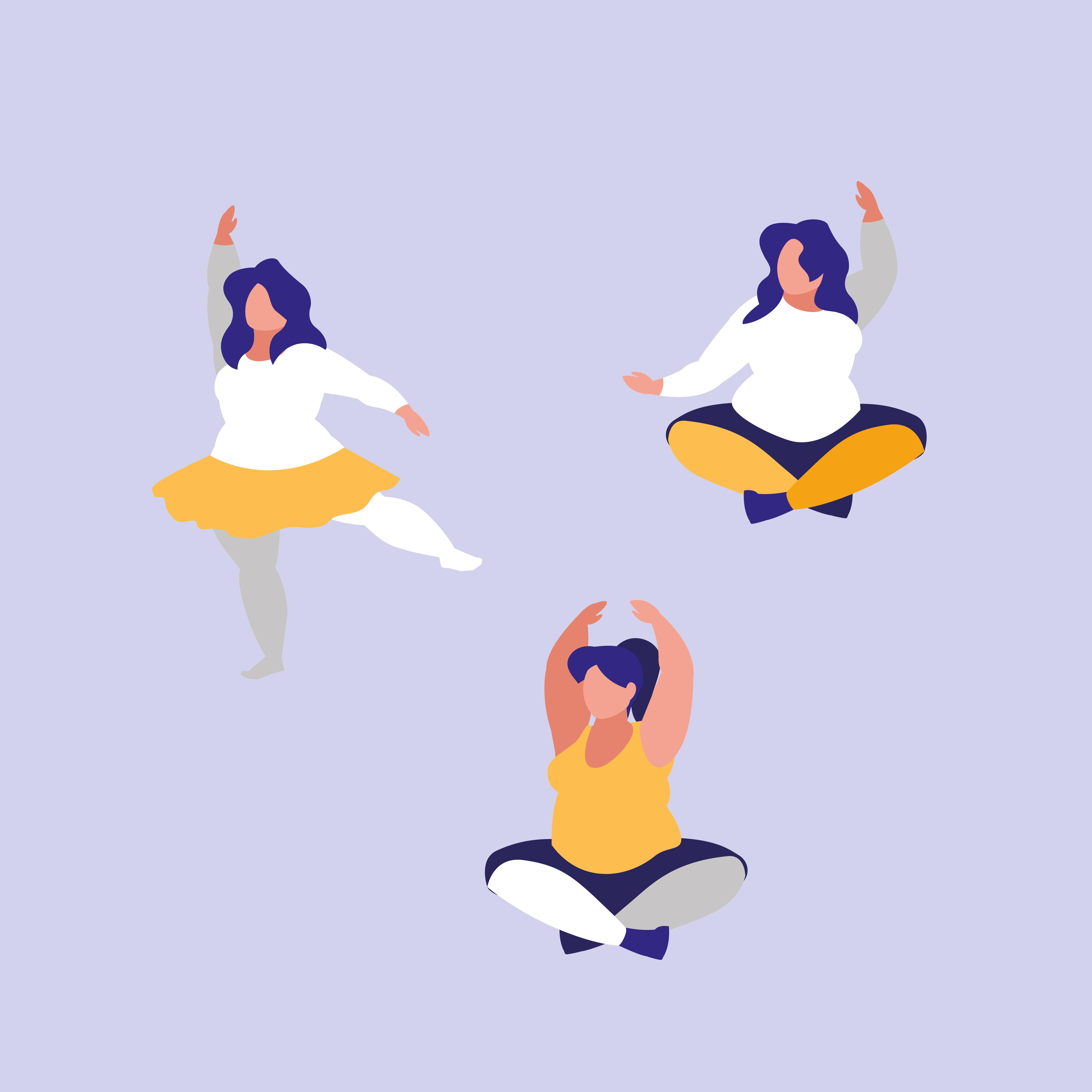 Three Women Exercising Body Positive Power Download Free Vectors Clipart Graphics Vector Art