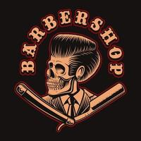 Skull with a barber straight razor for t-shirt