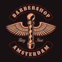 Barber pole with wings and lettering for t-shirt