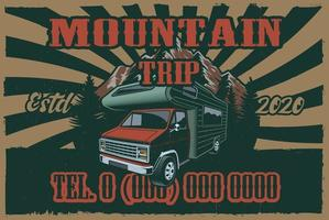 Vintage poster with rv and road trip theme