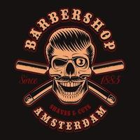 Vintage barber skull with crossed razors for t-shirt vector