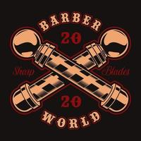 Barber poles and lettering badge for t-shirt