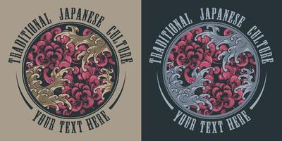 conjunto de tatuajes japoneses de crisantemos y olas vector