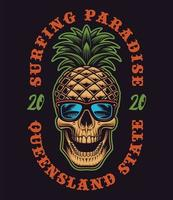 Pineapple skull with surf theme for t-shirt vector