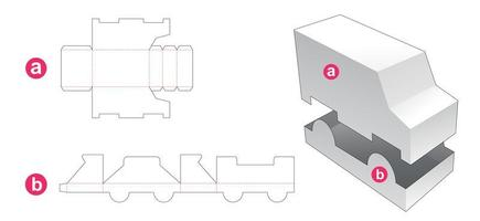 Truck shaped box and lid vector