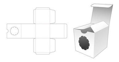 Square packaging with flower window vector