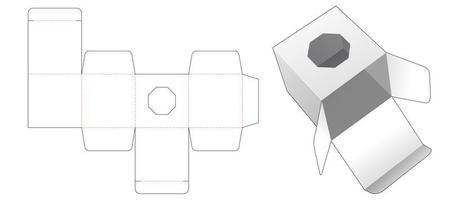 caja de regalo con ventana octogonal vector