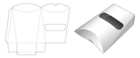 embalagem de lanche de travesseiro com janela vetor