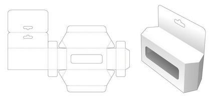 caja de juguetes hexagonal con orificio para colgar y ventana vector