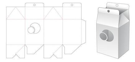 caja de embalaje y ventana circular con orificio para colgar vector