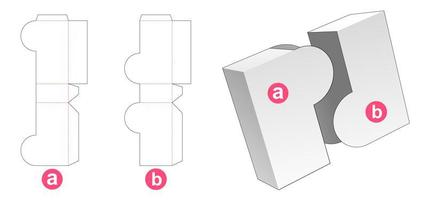 2 piece rounded flap box vector