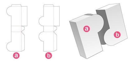 Caja de 2 piezas con solapa redondeada vector