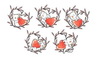 Cats with hearts in floral heart wreath vector