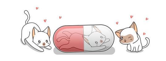 chat mignon en capsule avec des amis chats vecteur