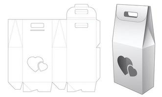 2 bottles packaging box and heart window with holder