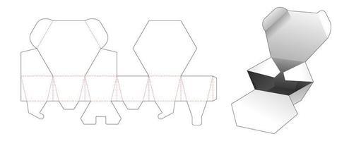 Caja hexagonal 2 solapas vector
