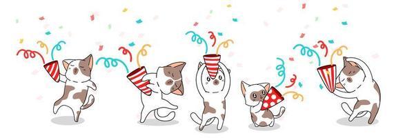 5 cute cats celebrating vector