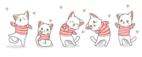 5 cats in striped shirts with hearts vector
