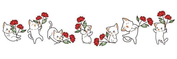 7 different kawaii cats holding flowers vector