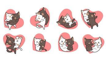 8 diferentes parejas de gatos adorables en corazones vector