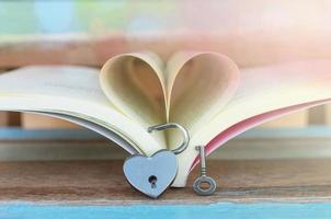 Heart shaped padlock with key and Heart book