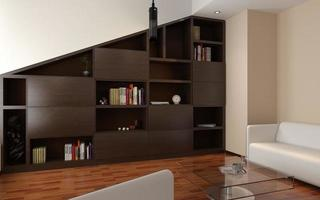 render of apartment living room with bookcase
