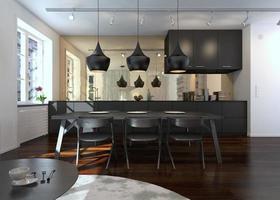 Interior del moderno comedor y cocina.