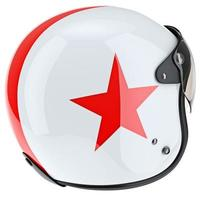 Protective helmet with red asterisk and rubber surround