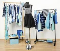 Dressing closet with blue clothes arranged on hangers.
