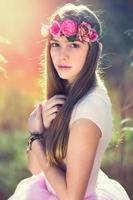 Beautiful girl with flower tiara