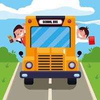 Cute students in the school bus vector