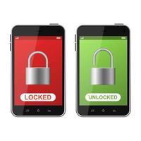Locked and unlocked phone  vector